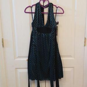 Xoxo black polka dot reversible halter dress
